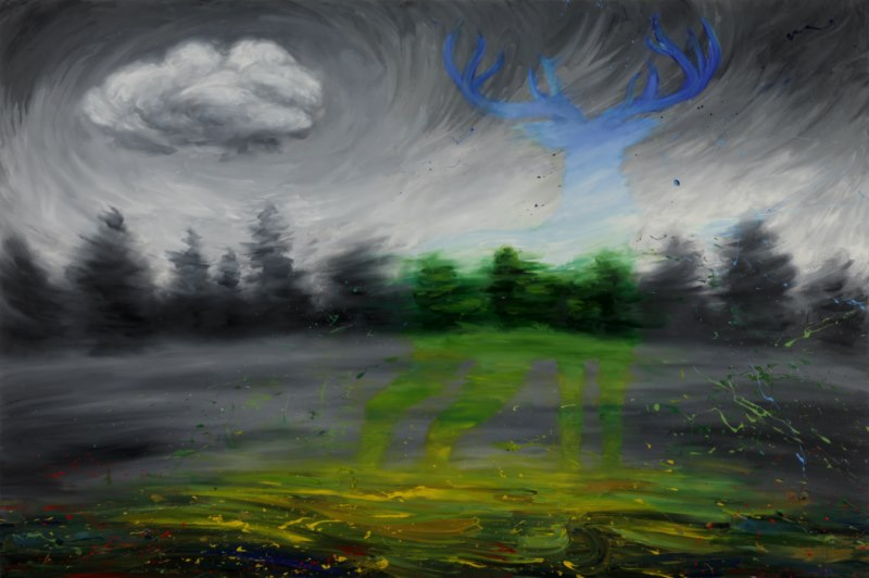 Dreaming of Flying (2012), oil on canvas, 39 x 58 inches