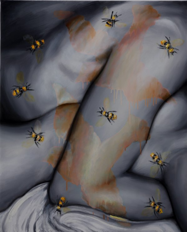 Bird and Bees (2009), oil on canvas, 36 x 29 inches