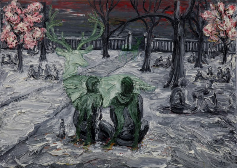 Berlin, Boxhagenerplatz (2011), oil on canvas, 18 x 24 inches