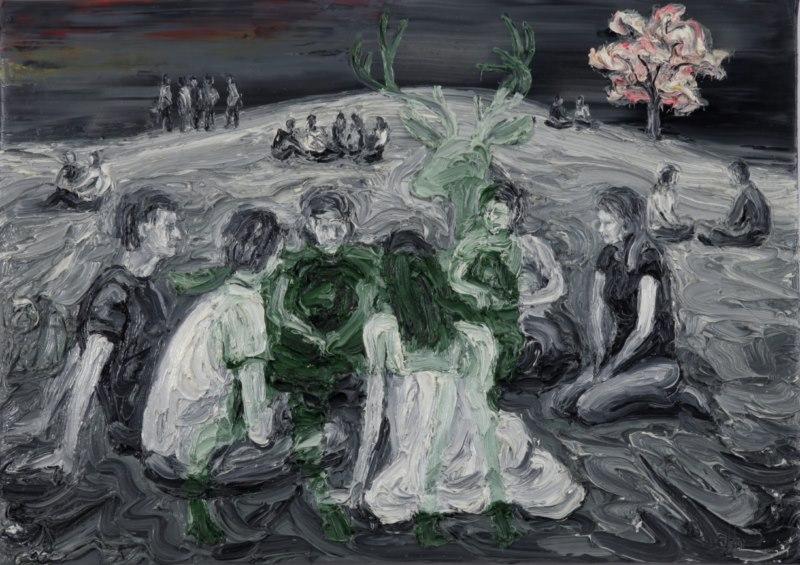 Berlin, Gorlitzer Park (2011), oil on canvas, 18 x 24 inches