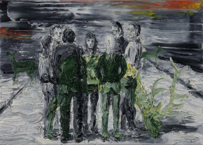 Berlin, May Day (2011), oil on canvas, 18 x 24 inches