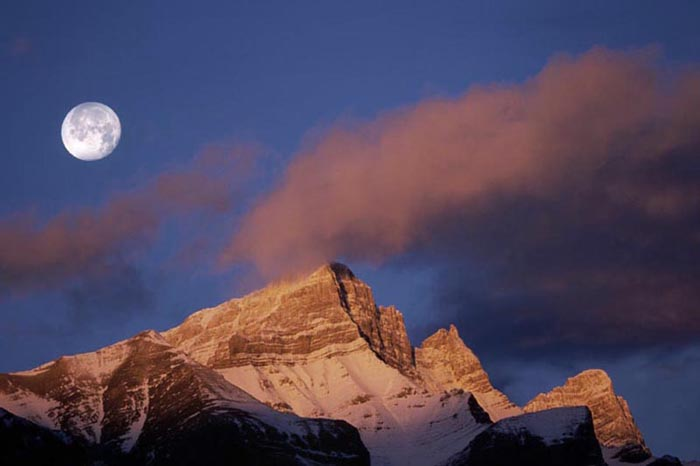 Sunrise and Moonset over Mount Rundle