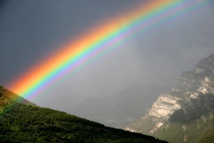 Rainbow over Grotto Mountain, Canmore, Alberta
