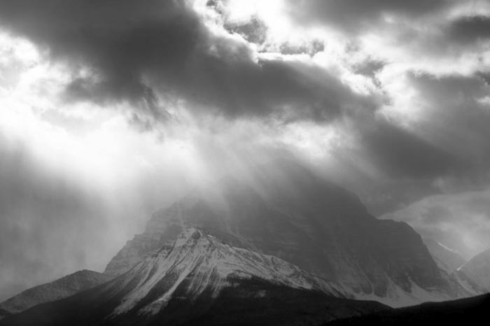 Storm Clouds over Mt. Temple, Lake Louise, Alberta