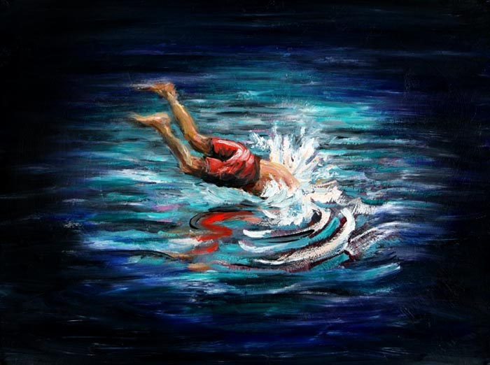 09-diver-2007-oil-on-paper-22x29-in