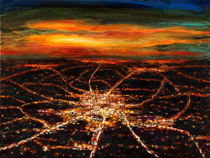 Night Flight - Small Town at Sunset (2006), oil on canvas, 18x24 inches