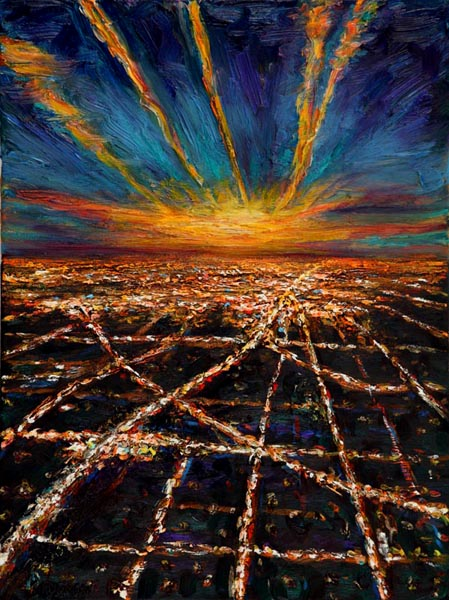 Night Flight - Approach to LAX (2006), oil on canvas, 24x18 inches