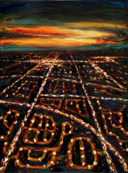 1Night Flight -  Descent Over Suburbs (2006), oil on canvas, 24x18 inches