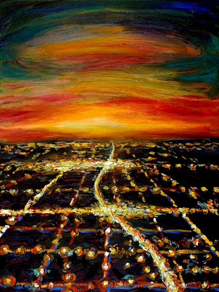 Night Flight - HWY 1 (2006), oil on canvas, 24x18 inches
