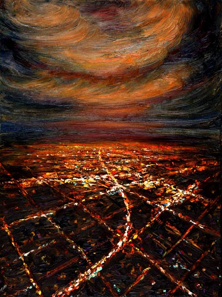 Night Flight - City lights on Clouds (2006), oil on canvas, 24x18 inches