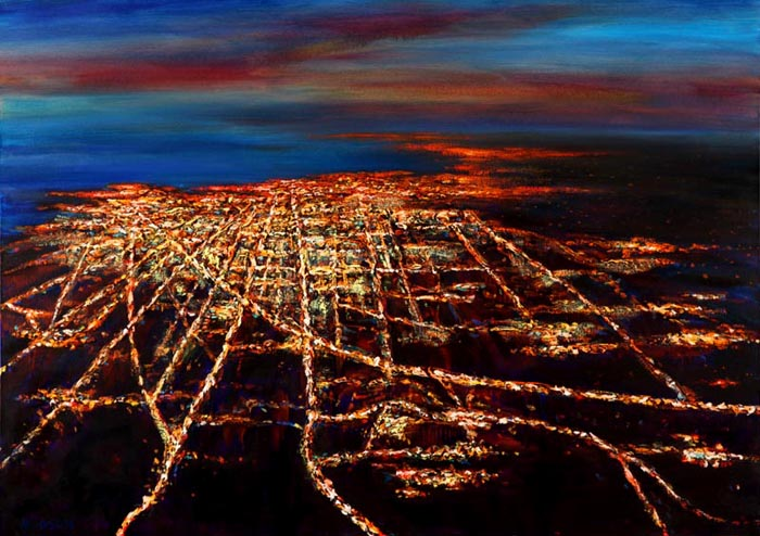 Night Flight - Chicago (2006), oil on canvas, 30x42 inches