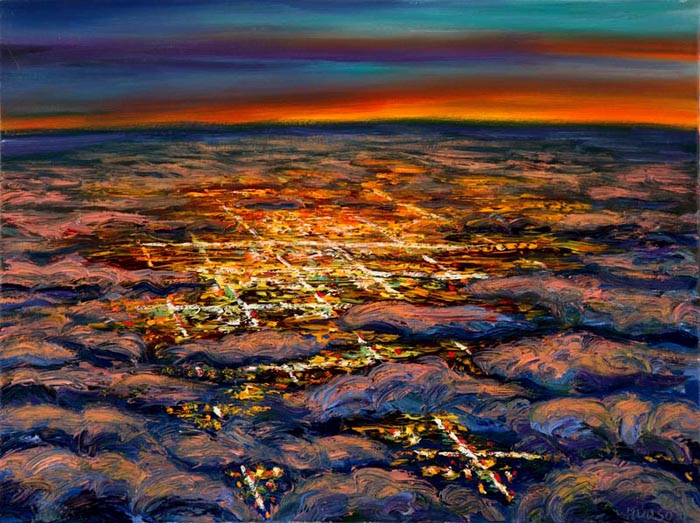 Night Flight - City in Clouds (2006), oil on canvas, 18x24 inches