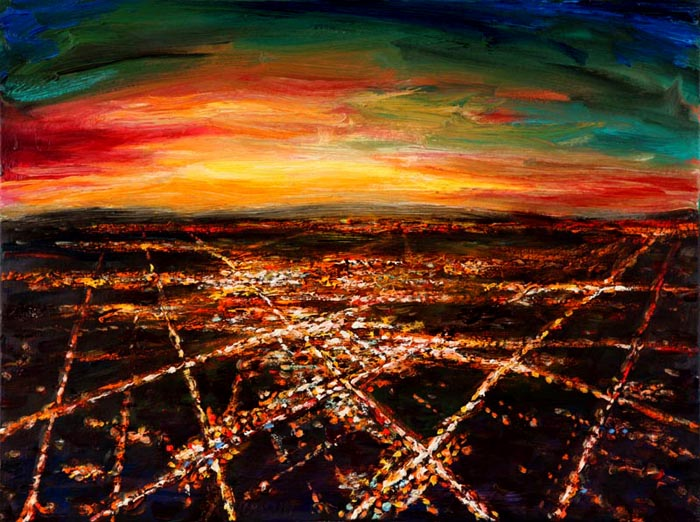 Night Flight - Landing at Sunset (2006), oil on canvas, 18x24 inches