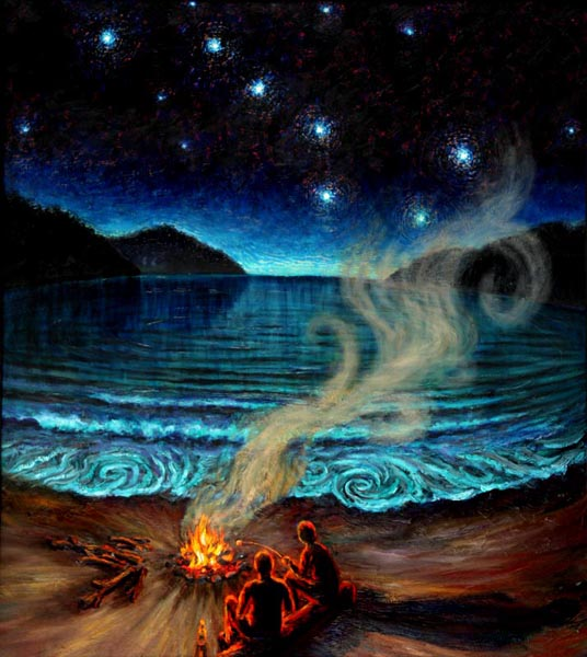 Campfire on the Beach (2004), oil on panel, 47x41 inches