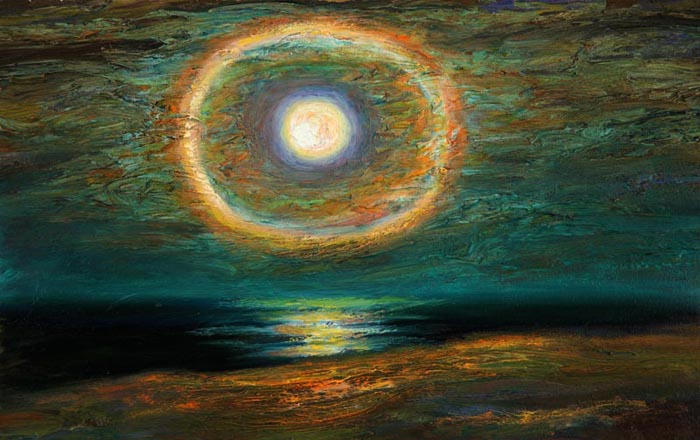 Waxed Moon (2007), oil on canvas, 13x21 inces
