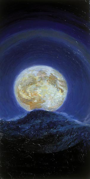 Waxed Moon Rising, oil on canvas