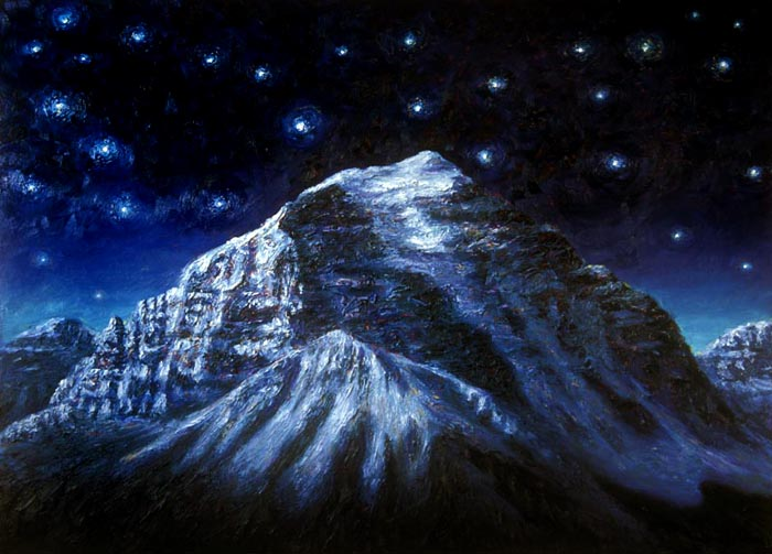 Mt. Temple at Night (2001), oil on panel, 58x43 inches