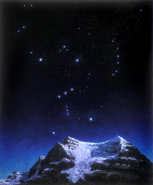 Orion Over Andromeda (1994), oil on panel, 72 x 52 inches