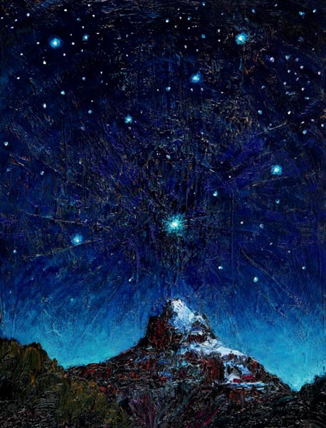 Saturn Over Pilot Mountain (2003), oil on panel, 16 x 21 inches