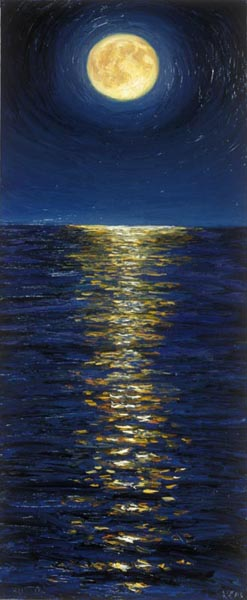 Moon with Reflection (1990), oil on canvas, 54 x 22 inches