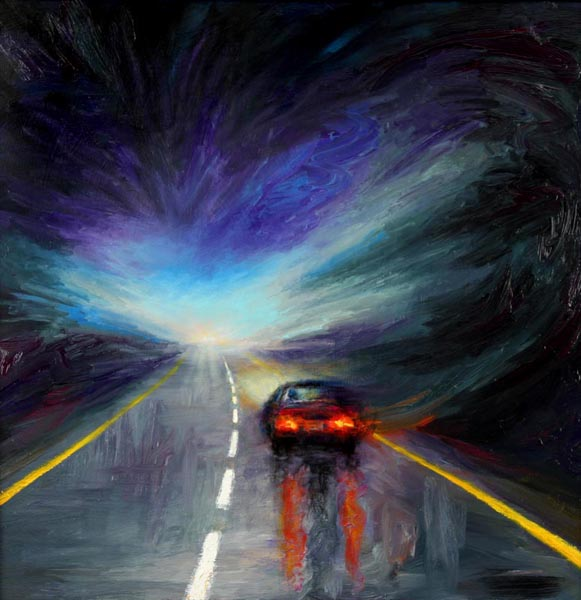 Late Night Drive (1999), oil on panel, 31 x 31 inches