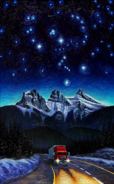 Orion Over the TransCanada Hwy at Night (2004), oil on panel, 37 x 60 inches