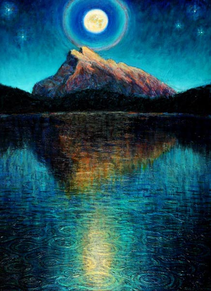 Mt. Rundle Reflection Under Full Moon (2005), oil on panel, 59 x 43 inches