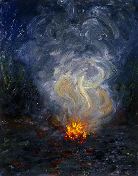 Campfire 2 (1991), oil on mylar, 24 x 18 inches