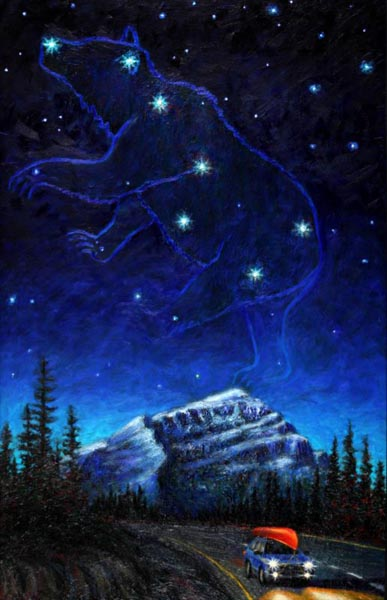 Ursa Over Cascade Mountain (2004), oil on panel, 59x 38 inches