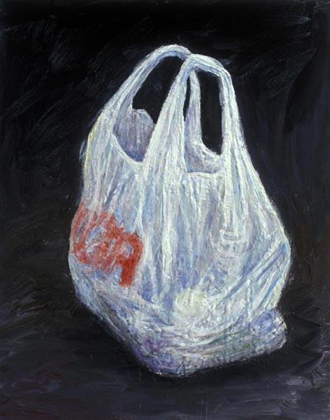 Bag of Groceries (1992), oil encaustic on panel, 32 x 24 inches