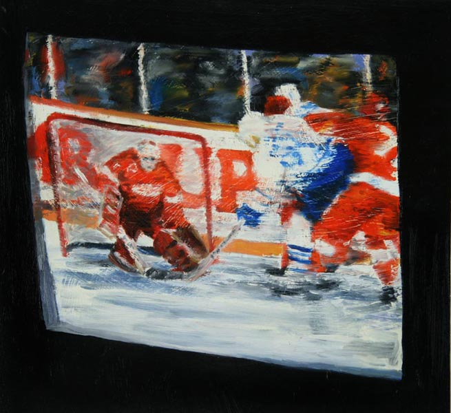 Hockey on TV (1993), oil on panel, 17x18 inches