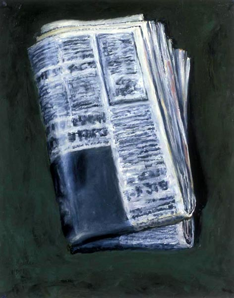 Newspaper (1992), oil on paper, 28x22 inches