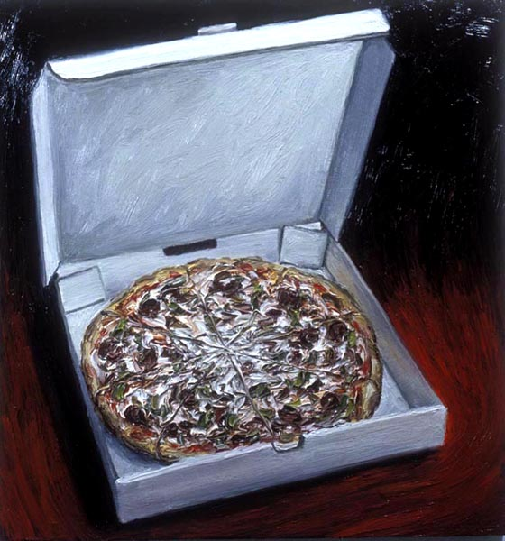 Pizza (1994), oil on panel, 24x24 inches