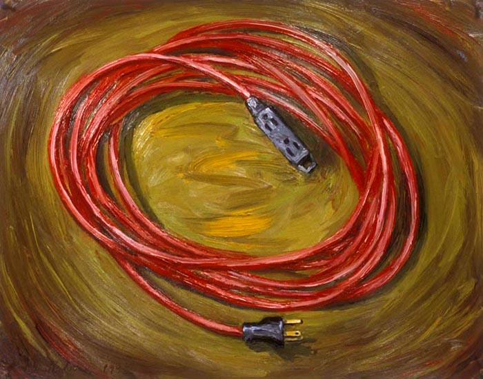 Extension Cord (1992), oil on paper, 22x29 inches