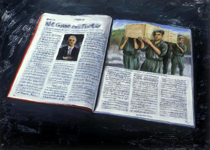 News Magazine (1992), oil on paper, 22x30 inches