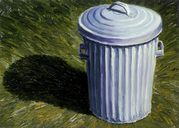 Garbage Can (1992), oil on panel, 24x34 inches