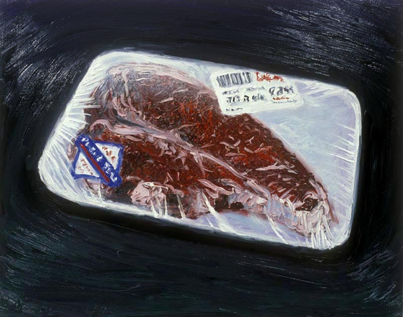 Steak (1992), oil on panel, 19x24 inches