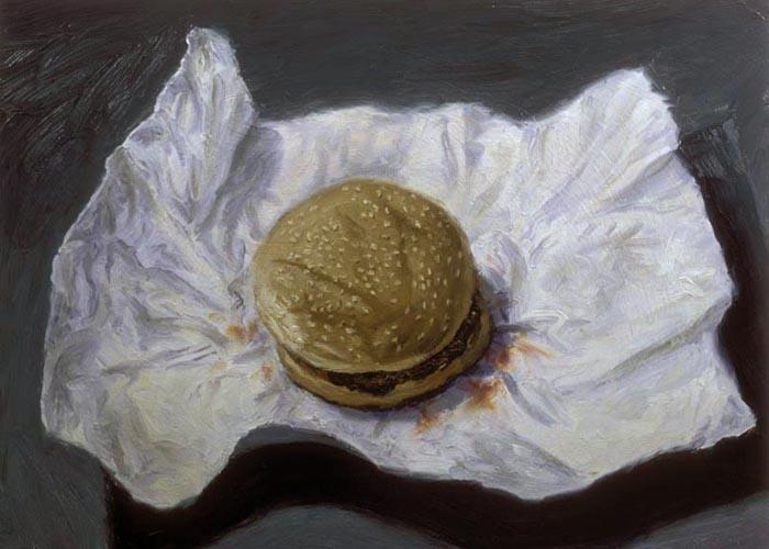 Hamburger (1995), oil on panel, 17x24 inches