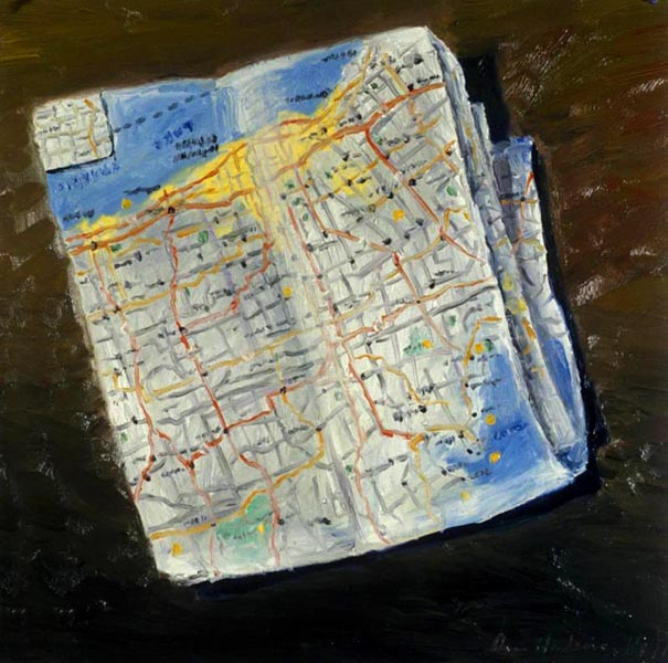 Road Map (1991), oil on paper, 22x22 inches