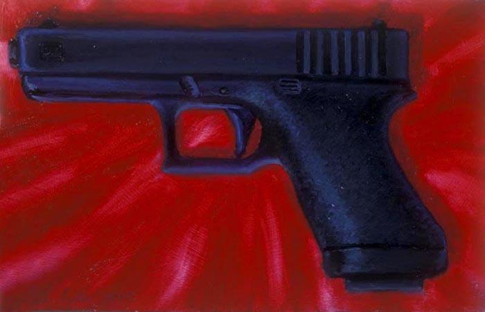9mm Handgun (1993), oil on panel, 12x19 inches