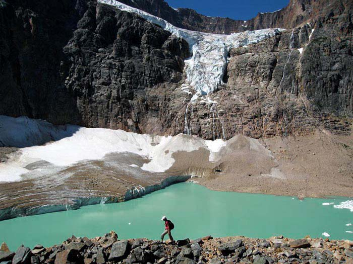 Hiker at Mt. Edith Cavell, Jasper, Alaberta