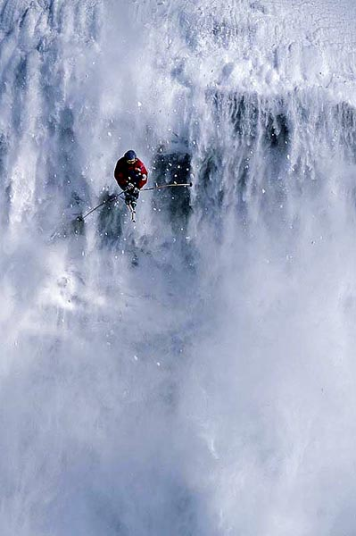 Snow Waterfalls Drop, Rockies Backcountry, Alberta - Colin Puskas